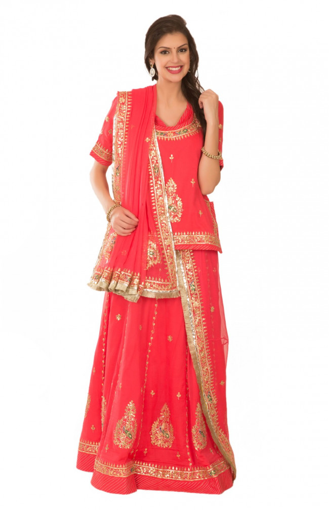 Ranas Red Georgette Gota Patti Kasab Resham Beads Sequence Work Rajputi Poshak