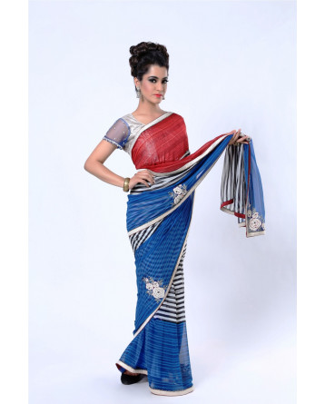 Ranas Blue Pure Georgette Thread Work, Cutdana Saree