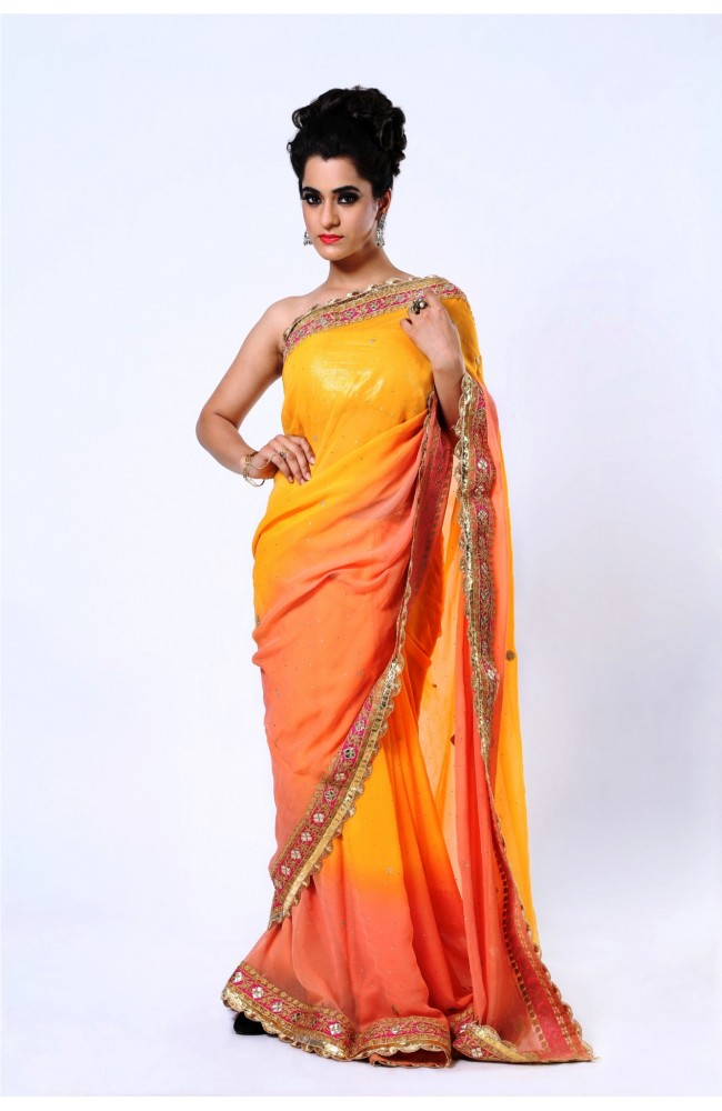 Ranas  Pure Georgette Peach Saree