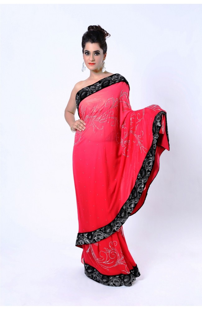 Ranas Shaded Red Pure Georgette Crystal Saree