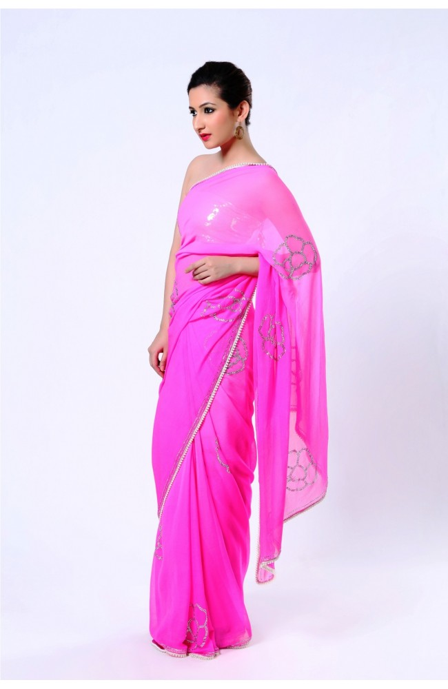 Ranas Hot Pink Pure Chiffon Crystal Saree