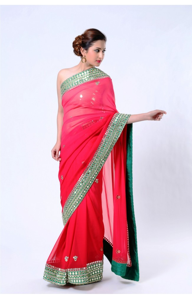 Ranas Pure Georgette Shaded Red Saree