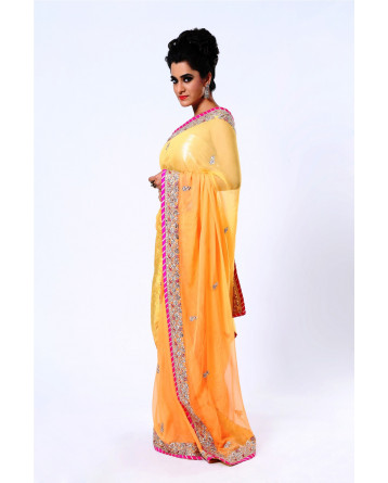 Ranas Light Orange Pure Chiffon Kundan,  Zardozi, Thread Saree