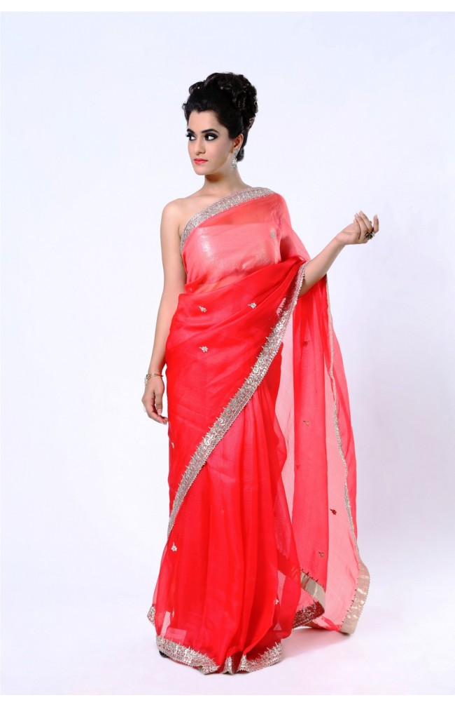 Ranas  Pure Kota Silk Shaded Red Gota Patti Saree