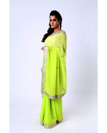 Ranas Pure Georgette Parrot Green Gota Patti Saree