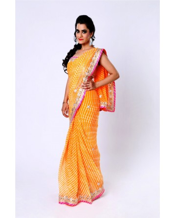 Ranas Yellow Pure Georgette Gota Saree