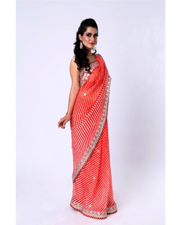 Ranas Orange Pure Georgette Gota Saree