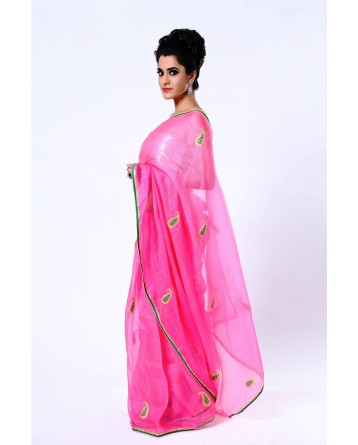 Ranas Pink Kota Tissue Pittan Work Saree