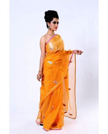 Ranas Kota Tissue Orange Kasab Pittan Saree