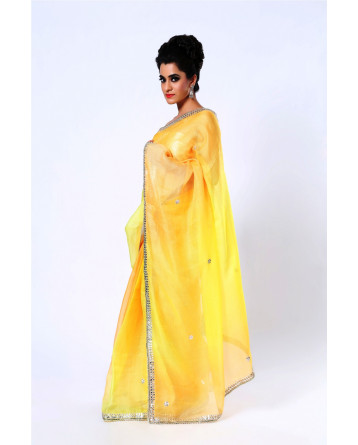 Ranas  Pure Kota Silk Shaded Yellow Gota Saree