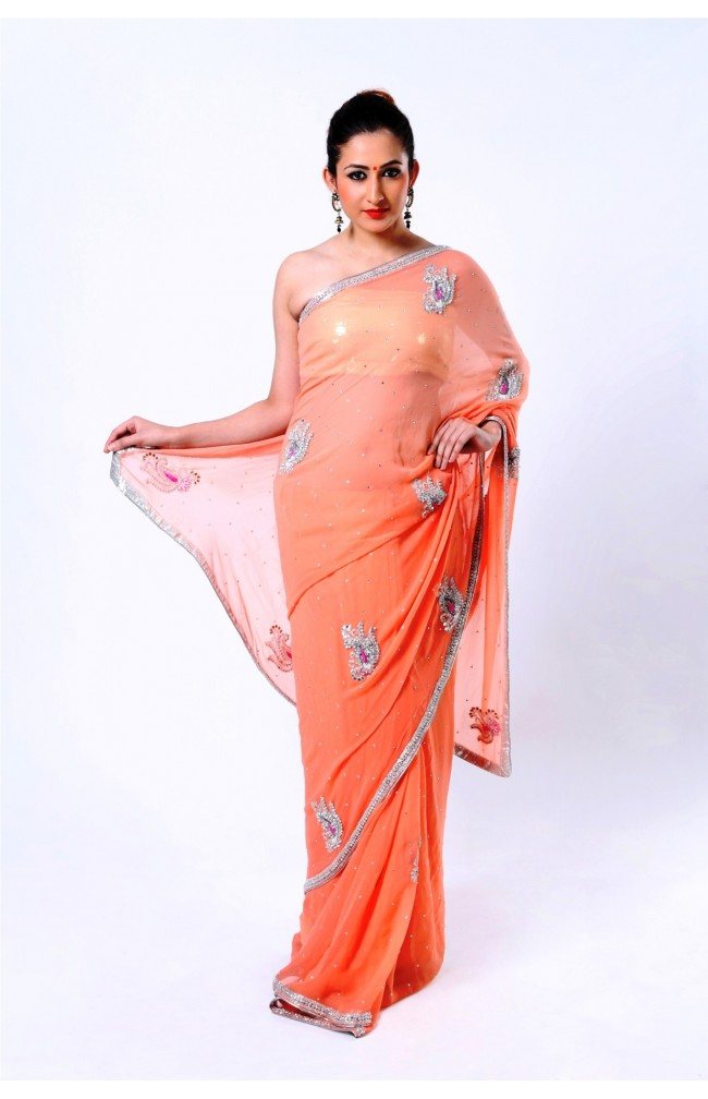 Ranas Peach Faux Georgette Crystal, Sequence, Thread, Kutdana, Pearl Saree