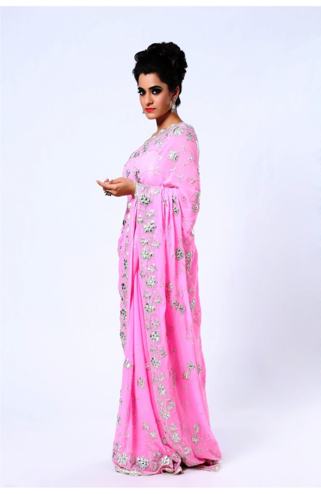 Ranas Pure Georgette Pink Saree
