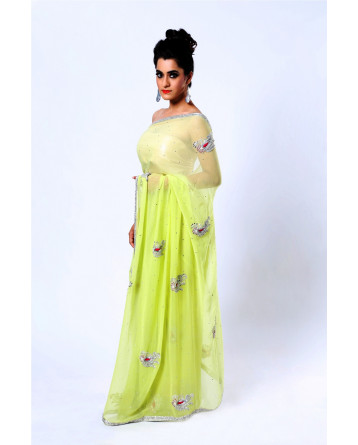 Ranas Faux Georgette Light Green Saree