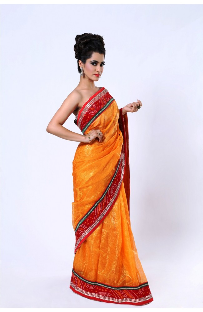 Ranas Orange Kota Tissue Gota,  Kundan, Border Patch In Contrast Colors Saree