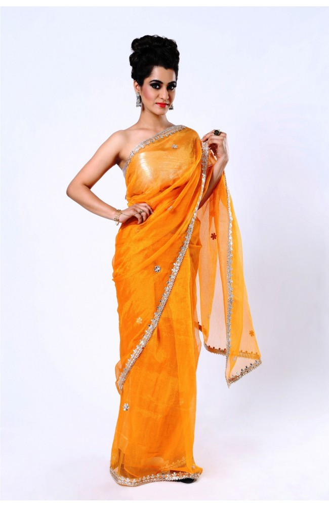 Ranas Kota Tissue Orange Gota Patti Saree