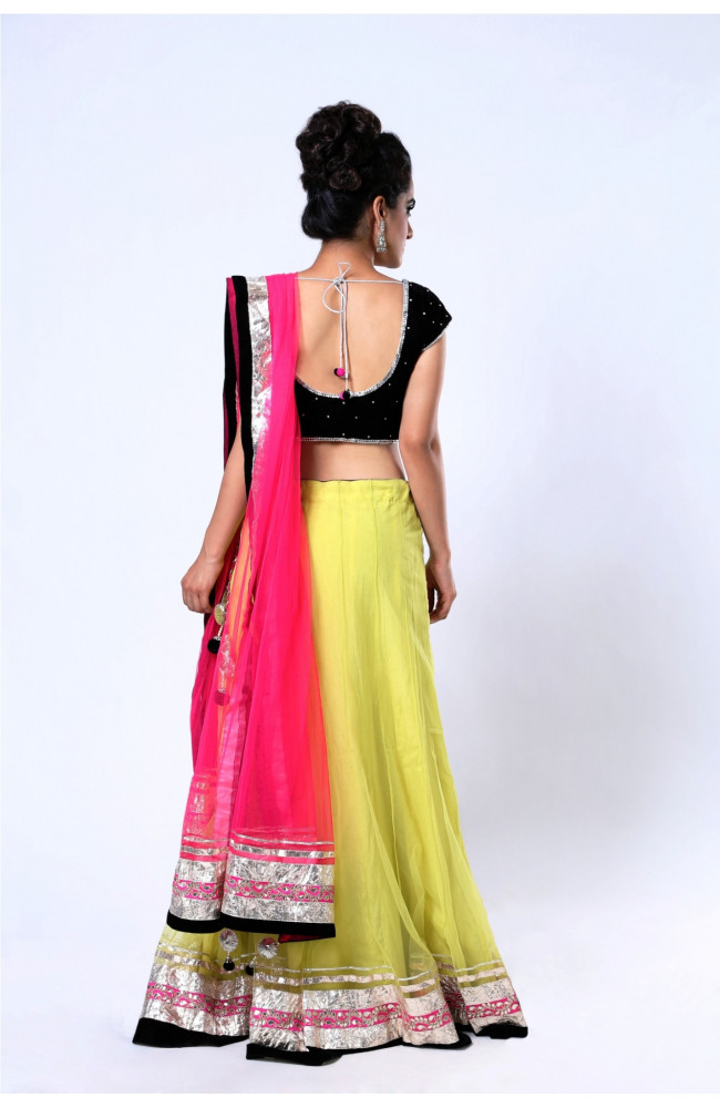 Ranas Light Green Pink Net Gota Lehenga