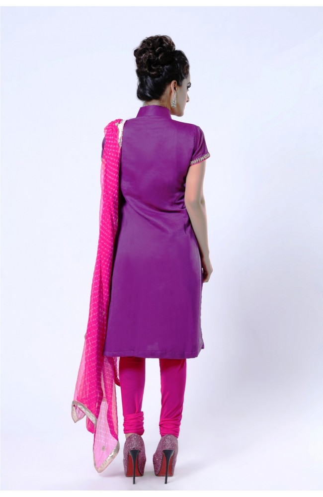 Ranas Purple Chanderi Cotton Kundan, Thread Salwar Kameez