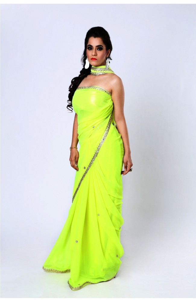 Ranas Neon Yellow Green Faux georgette Gota Saree