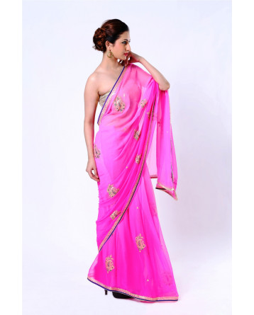 Ranas Pure Silk Georgette Shaded Pink Zari Saree