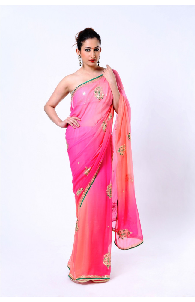 Ranas Shaded Pink Pure Silk Georgette Zari Saree