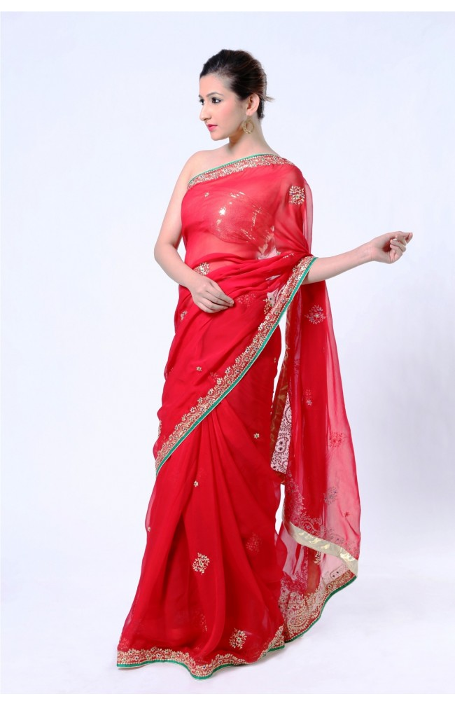 Ranas Red Pure Silk georgette Zari Saree