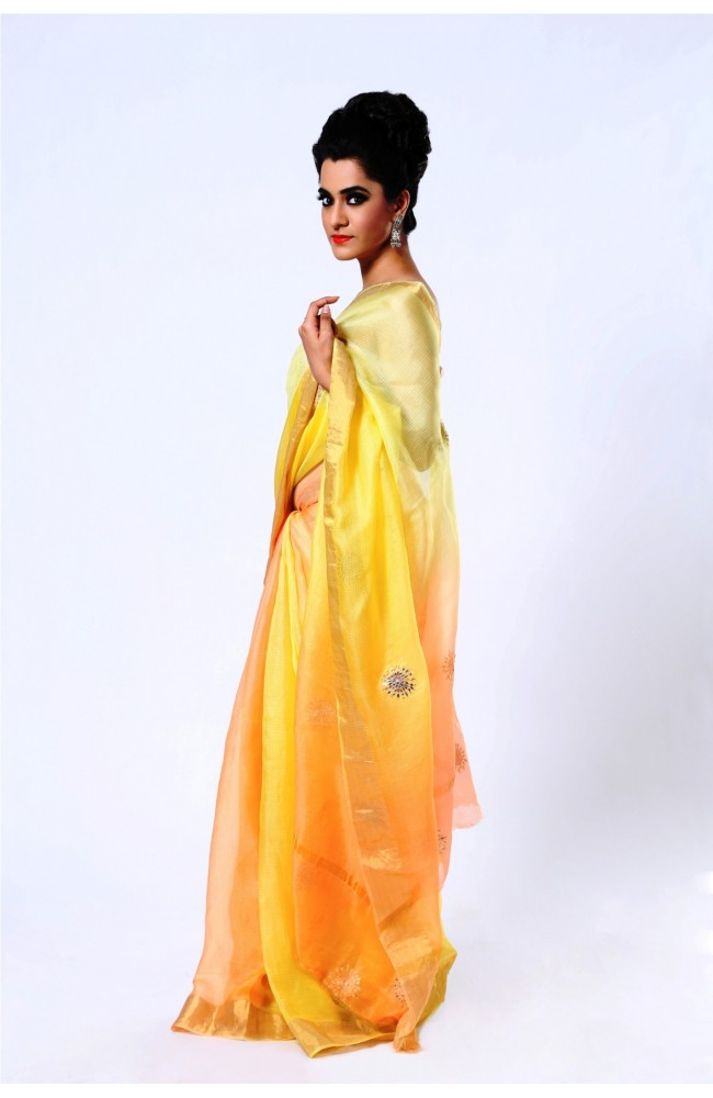 Ranas Pure Kota Silk Shaded Yellow Saree