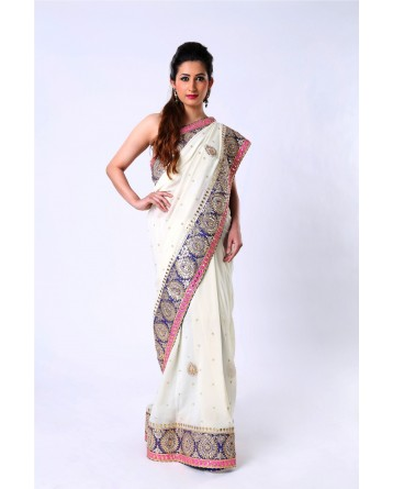 Ranas  Pure Georgette Ivory Saree