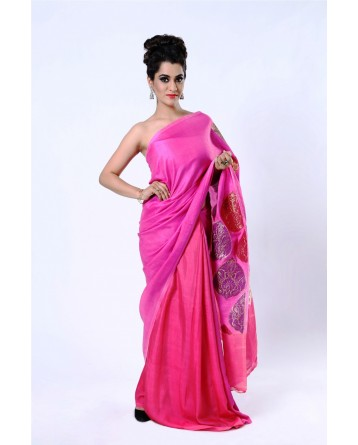 Ranas Silk Shaded Pink Woven Saree