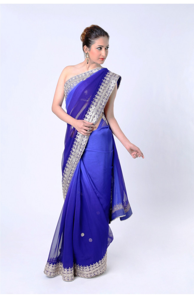 Ranas Shaded Blue Pure Georgette Gota Saree