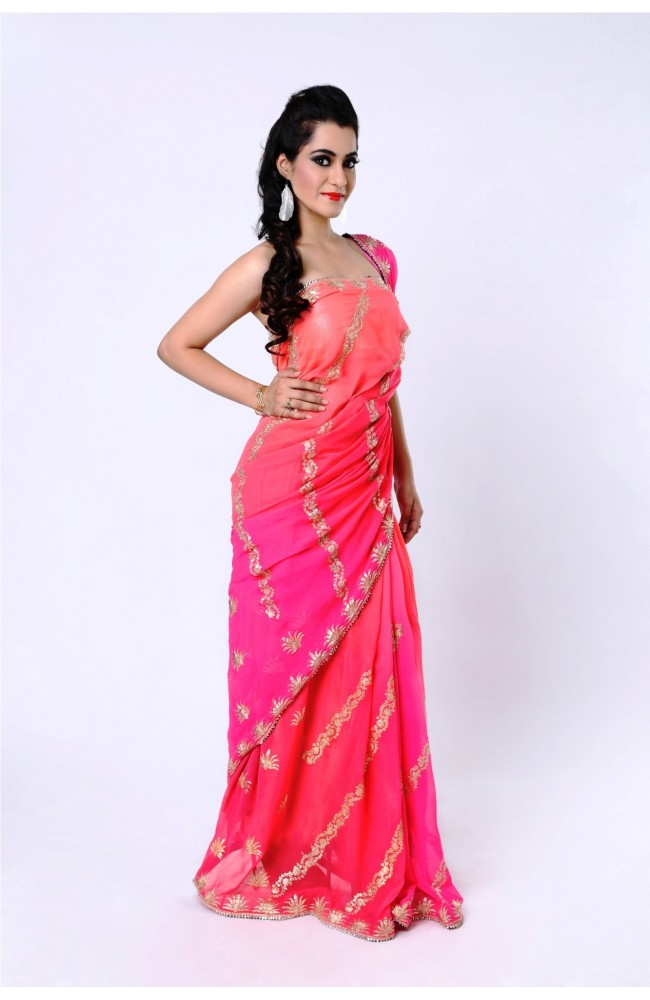 Ranas Pink Shaded Pure Gerogette Pittan Work Saree