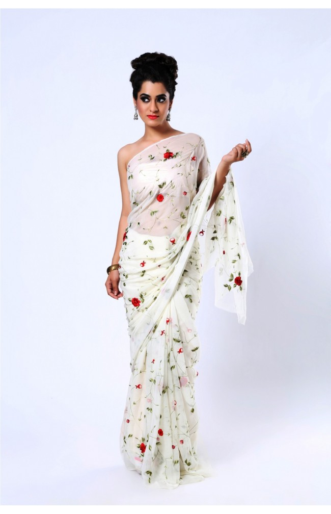 Ranas Off White Pure Chiffon Thread Work Jaal All Over Saree
