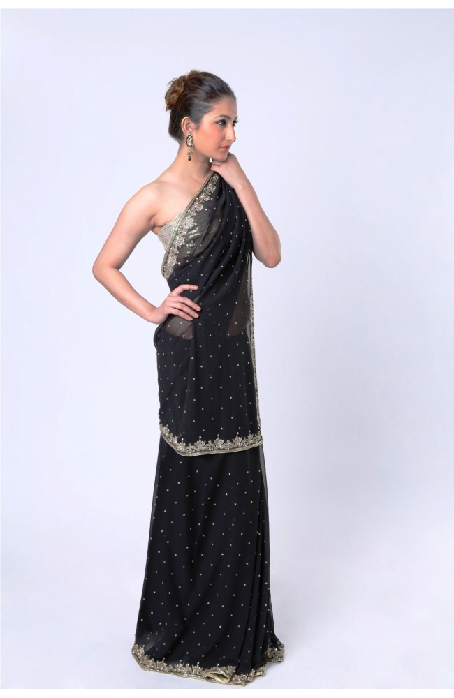 Ranas Faux Georgette Black Crystal Saree