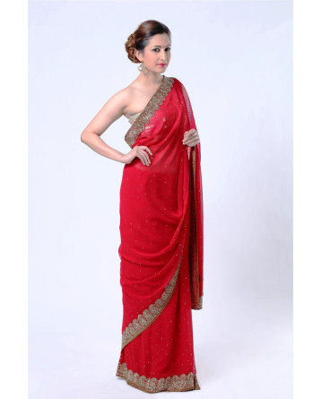 Ranas Red Faux Georgettte Saree