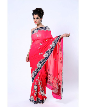 Ranas Pure Georgette Shaded Coral Red Saree