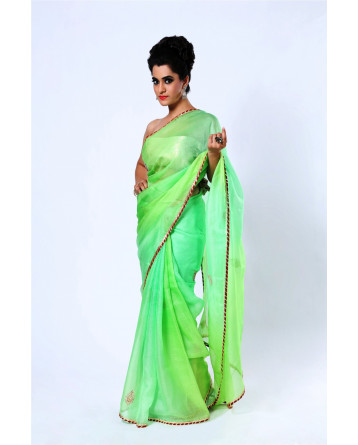 Ranas Pure Kota Silk Shaded Green Saree