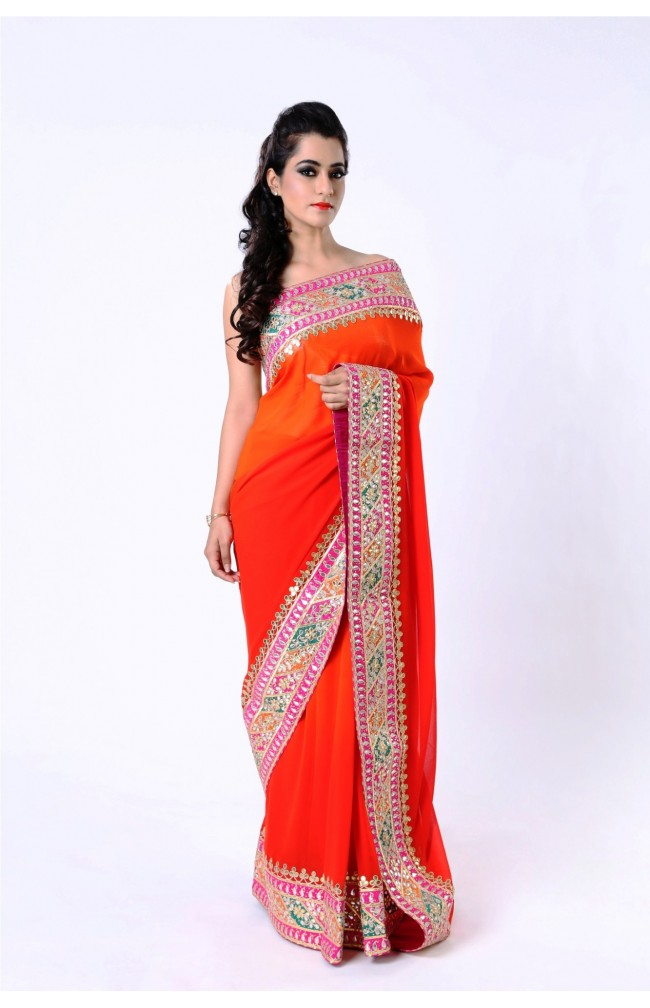 Ranas  Pure Georgette Red Sarees