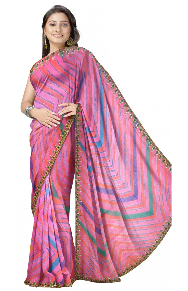 Ranas Pink Color Leheria Saree with Resham Work