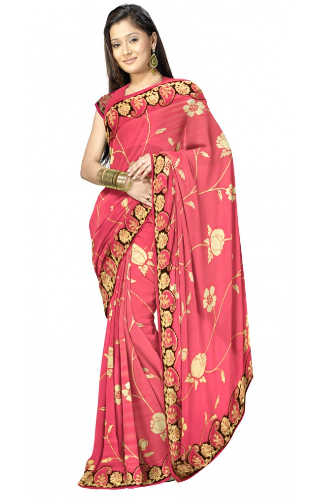 Ranas Designer Georgette Saree with Qureshia Work