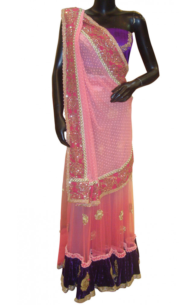 Ranas Peachish-Pink Color Designer Lehenga Saree