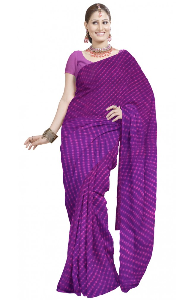 Ranas Purple Color with Leheria Design Saree
