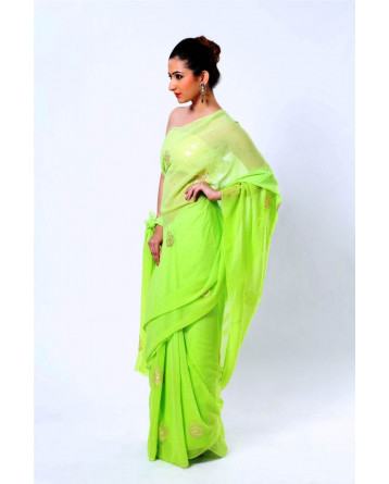 Ranas Green Faux Gerogette Pittan Work Saree