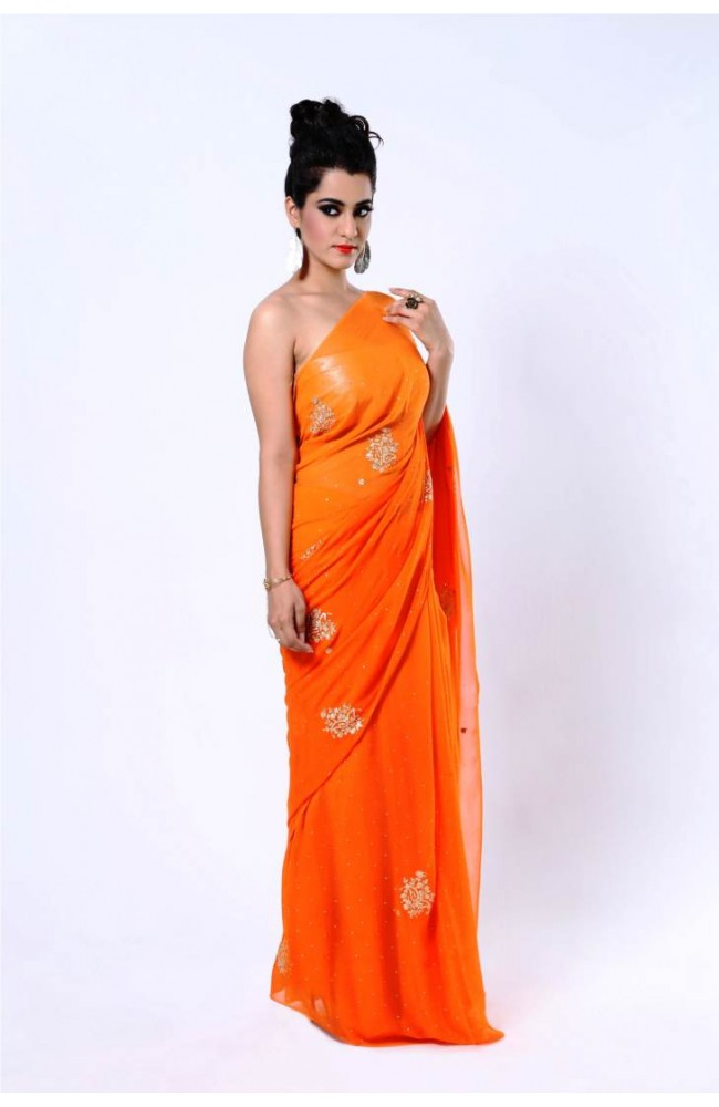 Ranas Orange Faux Gerogette Pittan Work Saree