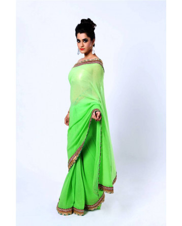 Ranas Green faux georgette kundan saree