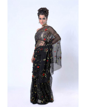 Ranas Black Pure Chiffon Thread Work Jaal All Over Saree