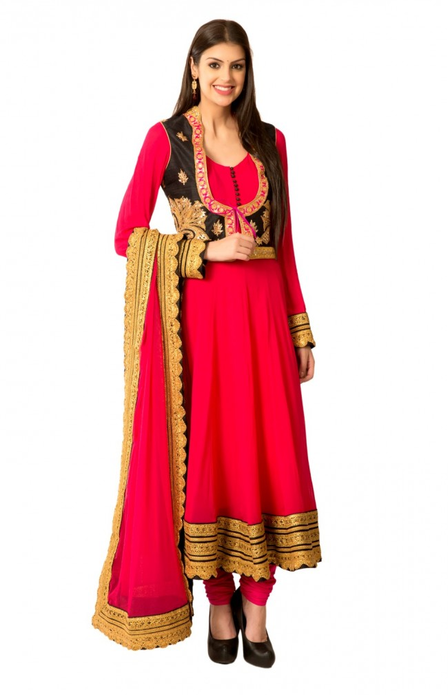 Ranas Pink Net Crochet Lace Anarkali Suit