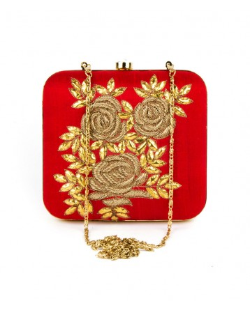 Raw Silk  Red Clutch Gotta patti With Zardosi work