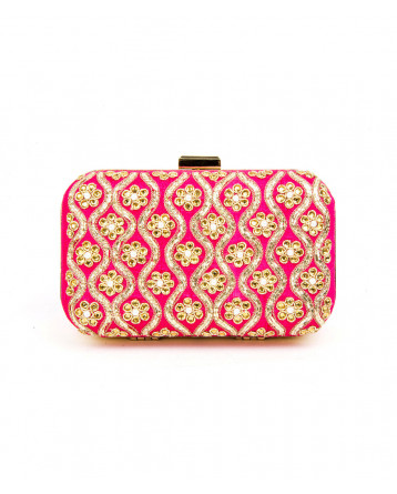 Raw Silk  Pink Clutch Zardosi, Moti, Crystal work