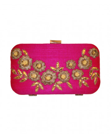 Raw Silk  Pink Clutch Gotta Patti, Kasab, Resham, Sequis Work