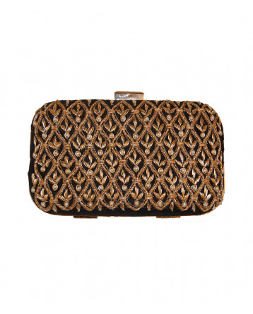 Raw Silk Black  Clutch Zardosi, Pearl, Dori Work