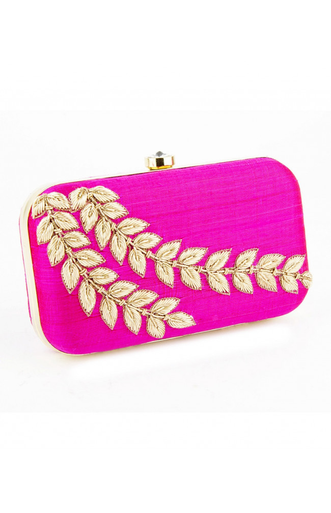 Raw Silk  Pink Clutch Zardosi, Salma, Work